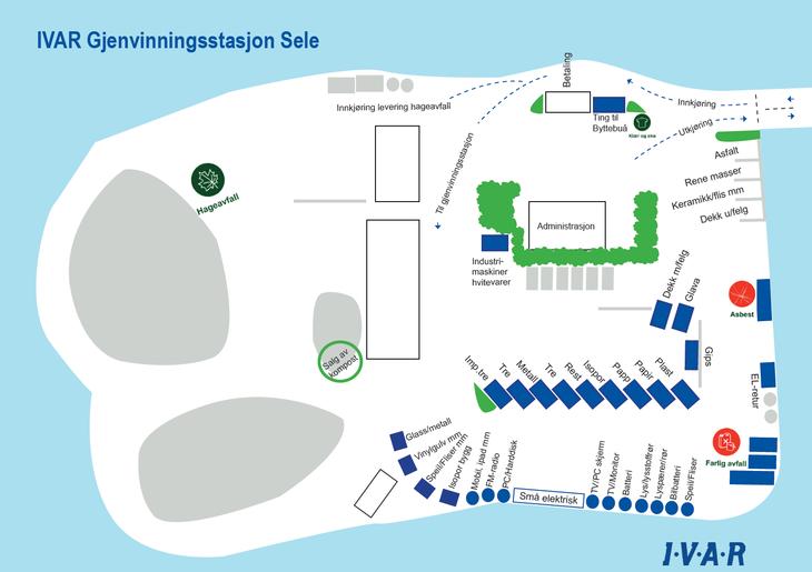 Oversiktskart over Sele gjenvinningsstasjon