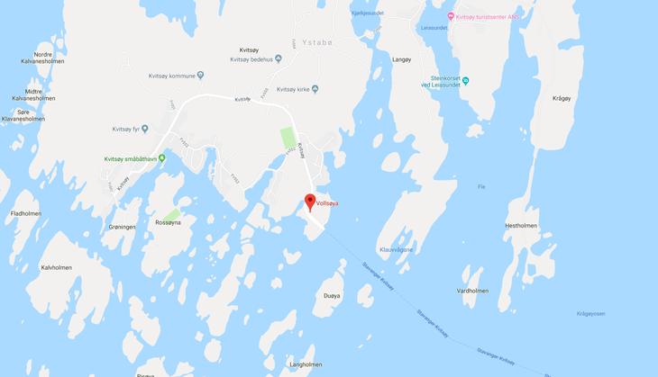 Kart til Kvitsøy gjenvinningsstasjon