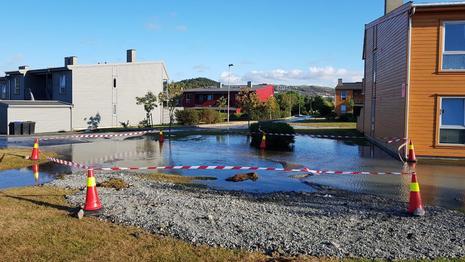 Bilde av ledningsbrudd i Sandnes.